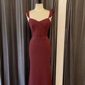 """Theia """"Sylvie"""" Wine Crepe Bridesmaid Dress"""